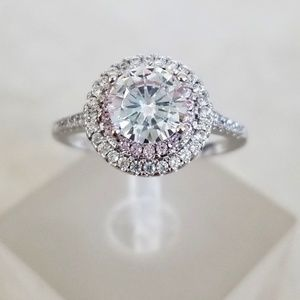 Sterling Pink Halo 1ct Solitaire